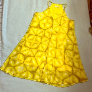 CALVIN KLEIN Yellow Tie Dye Summer Dress Size 10